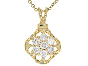 Pre-Owned Moissanite Pendant 14k Yellow Gold Over Silver .91ctw DEW