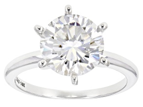 Pre-Owned Moissanite 14k White Gold Ring 3.10ct Diamond Equivalent Weight