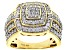 Pre-Owned Engild™ White Diamond 14k Yellow Gold Over Sterling Silver Ring 1.00ctw