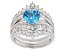 Pre-Owned Blue & White Cubic Zirconia Rhodium Over Sterling Silver Center Design Ring With Guard 6.7