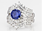 Pre-Owned Blue & White Cubic Zirconia Rhodium Over Sterling Silver Center Design Ring With Guard