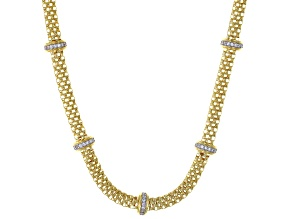 Pre-Owned White Cubic Zirconia 18K Yellow Gold Over Sterling Silver Station Necklace 0.56ctw