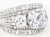 Pre-Owned White Cubic Zirconia Rhodium Over Sterling Silver Ring 12.97CTW