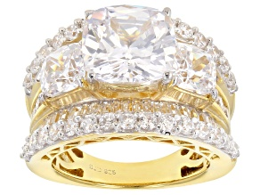 Pre-Owned White Cubic Zirconia 18K Yellow Gold Over Sterling Silver Ring 12.97CTW