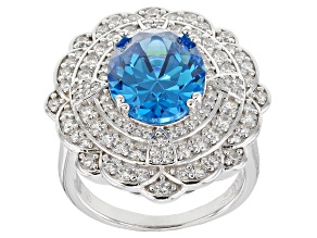 Pre-Owned Blue & White Cubic Zirconia Rhodium Over Sterling Silver Center Design Ring 9.93ctw