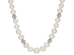 Pre-Owned White Cultured Freshwater Pearl Magnetic Clasp Strand Necklace 20.5  inch