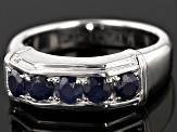 Pre-Owned Blue Sapphire Sterling Silver Gents Wedding Band Ring 1.66ctw