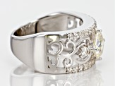 Pre-Owned White Fabulite Strontium Titanate And White Zircon Rhodium Over Sterling Silver Ring 2.14c