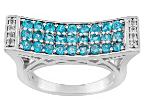 Pre-Owned Neon Apatite And White Topaz Sterling Silver Ring 1.28ctw