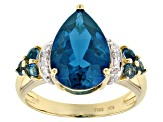 Pre-Owned 5.72ctw Pear Shape And Round Deep Blue Topaz And Diamond 10k Yellow Gold Ring