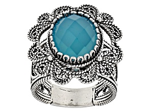 Pre-Owned Blue Chalcedony Sterling Silver Ring 3.75ct