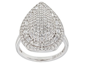 Pre-Owned White Cubic Zirconia Rhodium Over Sterling Silver Cluster Ring 3.55ctw