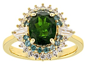 Pre-Owned Green Russian Chrome Diopside 18k Gold Over Silver Ring 2.50ctw