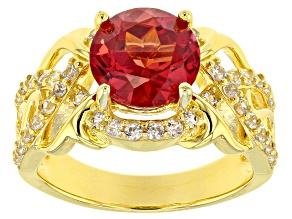Pre-Owned Orange lab created Padparadscha sapphire 18k gold over silver ring 3.65ctw