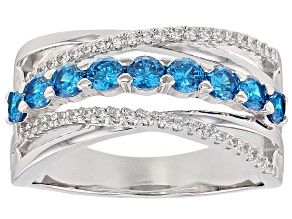 Pre-Owned Blue And White Cubic Zirconia Rhodium Over Sterling Silver Ring 1.47CTW
