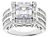 Pre-Owned White Cubic Zirconia Rhodium Over Sterling Silver Ring 7.16CTW