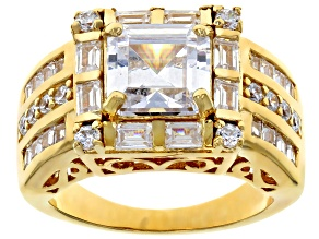 Pre-Owned White Cubic Zirconia 18K Yellow Gold Over Sterling Silver Ring 7.16CTW