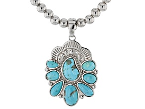 Pre-Owned Turquoise Rhodium Over Silver Enhancer and Bead Necklace