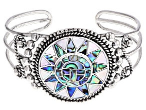 Pre-Owned Pacific Style™ inlaid Abalone And Mother Of Pearl Sterling Silver Bracelet