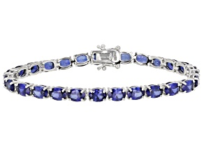 Pre-Owned Blue Lab Created Sapphire rhodium over sterling silver tennis bracelet