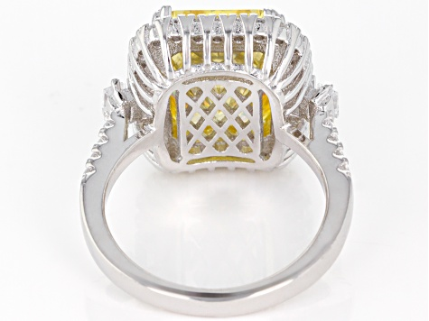 Pre-Owned Yellow and White Cubic Zirconia Rhodium Over Sterling Silver Ring 16.94ctw