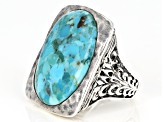 Pre-Owned Blue Turquoise rhodium over silver ring