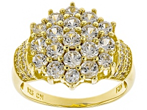 Pre-Owned White Zircon 18k Gold over Silver Cluster Ring 2.61ctw