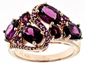 Pre-Owned Raspberry Color Rhodolite 18k Gold Over Sterling Silver Ring 4.47ctw
