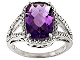 Pre-Owned Purple amethyst rhodium over silver ring 4.51ctw