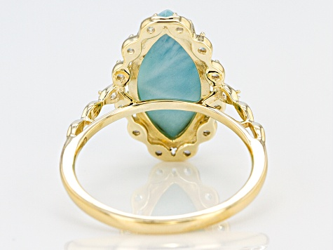 Pre-Owned Blue Larimar Marquise 10k Yellow Gold Ring 16x8mm