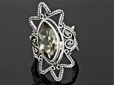 Pre-Owned Green Prasiolite Sterling Silver Ring 4.00ct