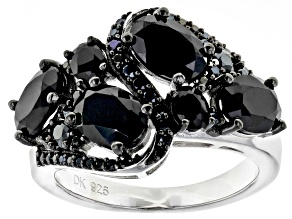 Pre-Owned Black spinel rhodium over silver ring 3.83ctw