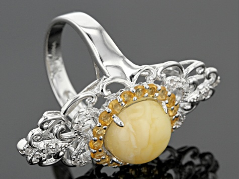 Pre-Owned Orange Baltic Amber Sterling Silver Ring .61ctw