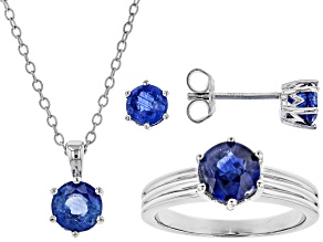 Pre-Owned Blue Kyanite Rhodium Over Silver Jewelry Set 3.35ctw