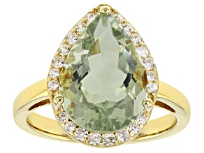 Pre-Owned Green prasiolite 18k yellow gold over silver ring 4.64ctw