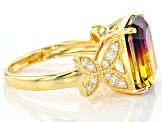 Pre-Owned Bi-Color And White Cubic Zirconia 18K Yellow Gold Over Silver Ring 4.82CTW