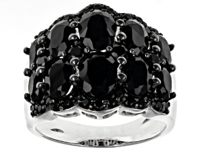 Pre-Owned Black spinel rhodium over sterling silver ring 5.41ctw