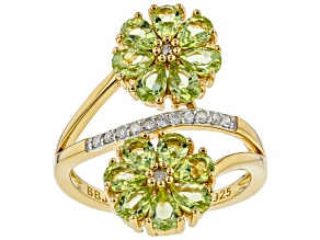 Pre-Owned Green peridot 18k gold over silver ring 2.09ctw