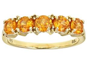 Pre-Owned Orange Spessartite 18k Gold Over Sterling Silver Ring 1.30ctw