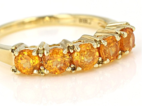 Pre-Owned Orange Spessartite 18k Gold Over Sterling Silver Ring 1.30ctw