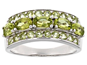 Pre-Owned Green Peridot Sterling Silver Ring 1.84ctw