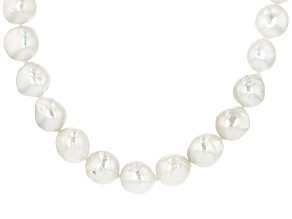 Pre-Owned Genusis (TM) 9.5-13mm White Cultured Freshwater Pearl Rhodium Over Sterling Silver 28