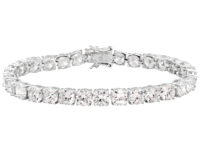Pre-Owned Bella Luce ® White Diamond Simulant Minimum Of 37.80ctw  Platinum Over  Silver Bracelet