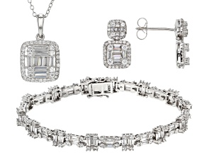 Pre-Owned White Cubic Zirconia Rhodium Over Sterling Silver Jewelry Set 16.29ctw