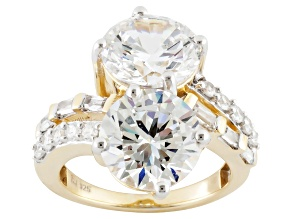 Pre-Owned Cubic Zirconia 18k Yellow Gold Over Silver Ring 14.80ctw (8.52ctw DEW)