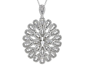 Pre-Owned White Cubic Zirconia Rhodium Over Sterling Silver Cluster Pendant With Chain 7.56ctw