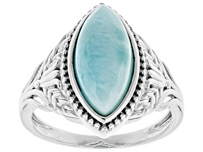 Pre-Owned Blue larimar rhodium over silver ring