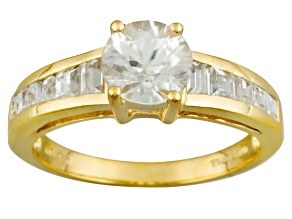 Pre-Owned White Zircon 18k Yellow Gold Over Sterling Silver Ring 2.21ctw