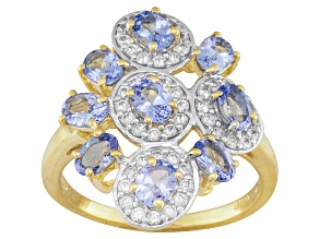 Pre-Owned Blue Tanzanite And White Zircon 18k Gold Over Silver Ring 2.11ctw