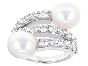 Pre-Owned White Cultured Freshwater Pearl And Diamond Simulant Silver Ring